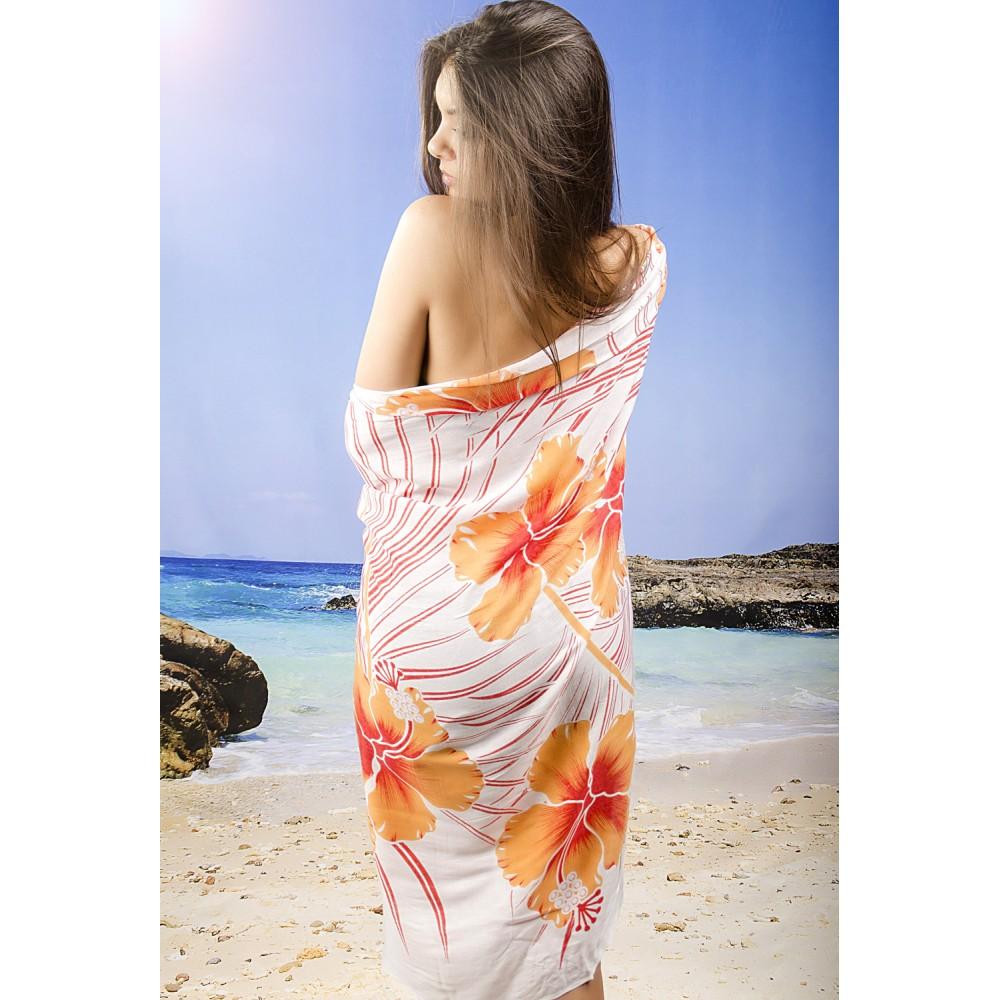 Плажно Парео в Оранжево и Бяло