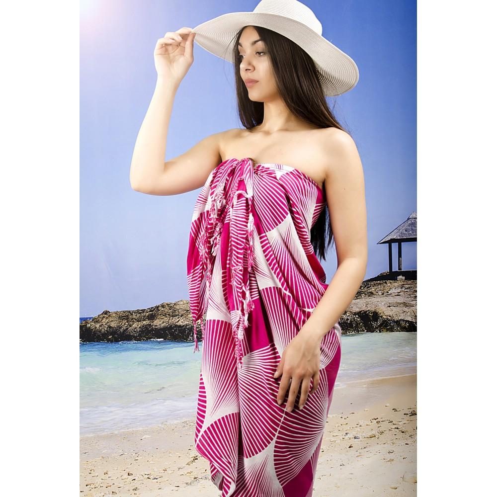 Плажно Парео в Розово и Бяло