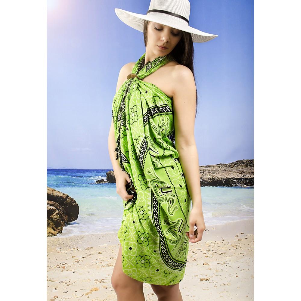 Плажно Парео в Зелено, Черно и Бяло