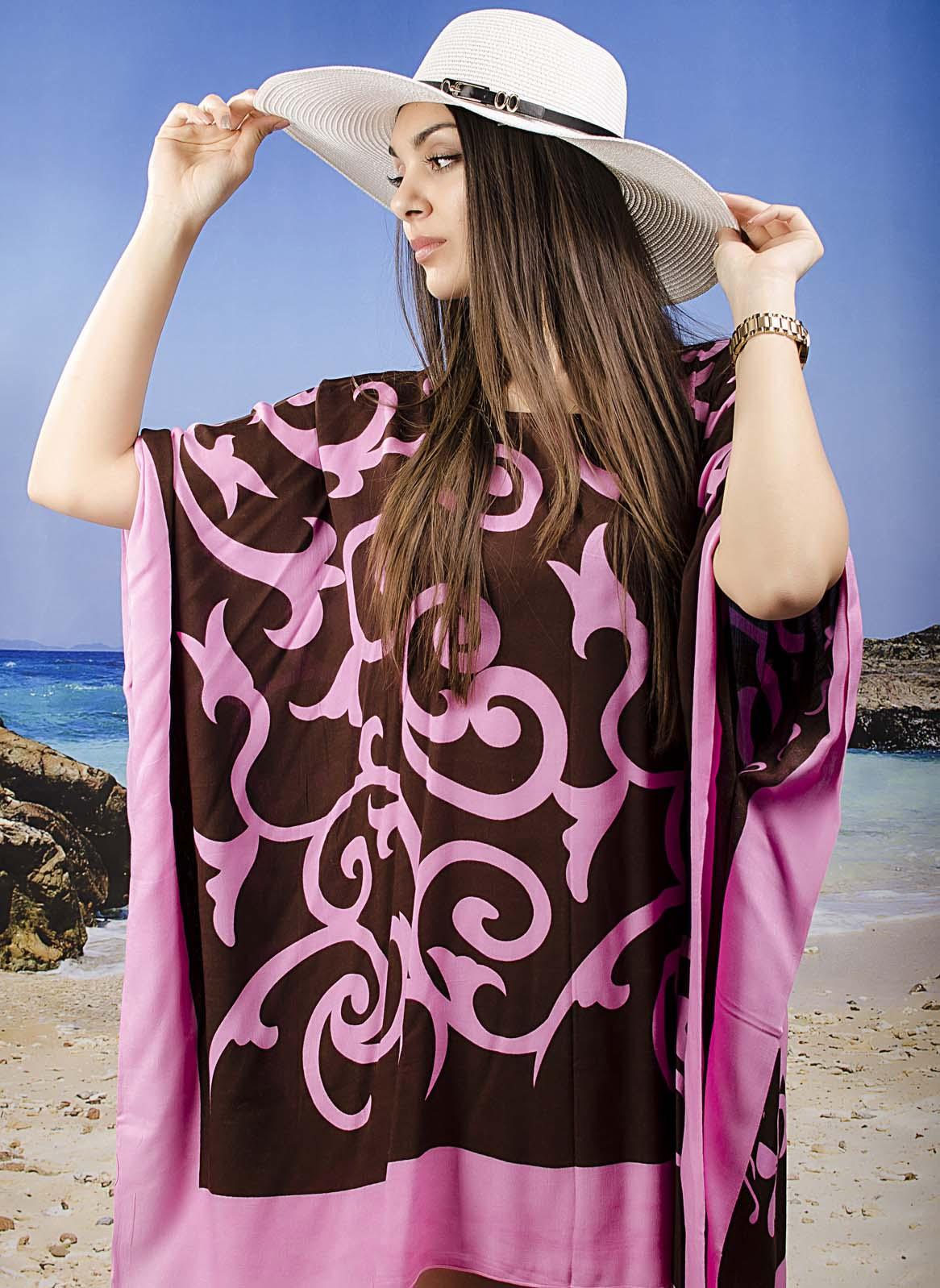 Плажна Туника в Розови Орнаменти