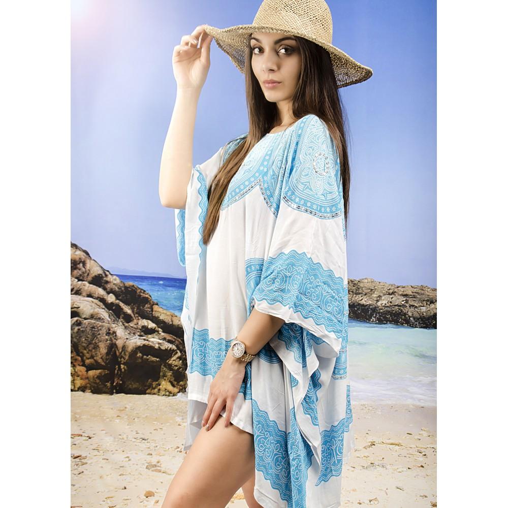Плажна Туника в Бяло и Синьо