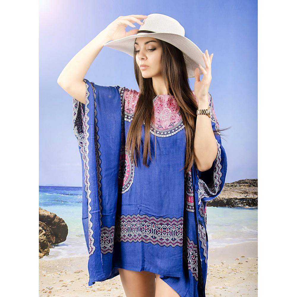 Плажна Туника в Тъмно Синьо и Цветни Орнаменти