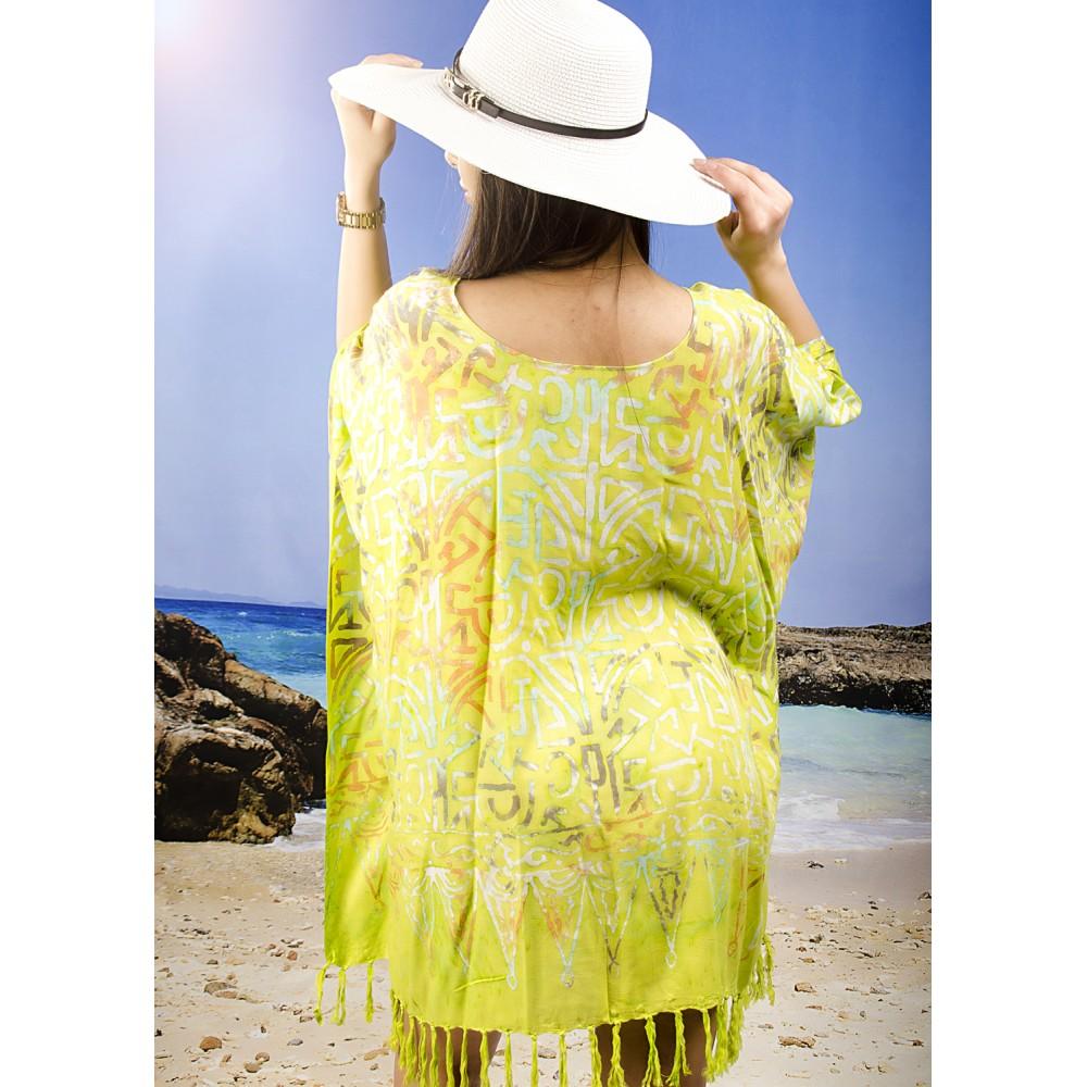 Плажна Туника в Жълто-Зелено с Орнаменти