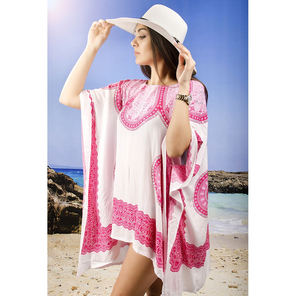 Плажна Туника в Бяло и Розово с Орнаменти