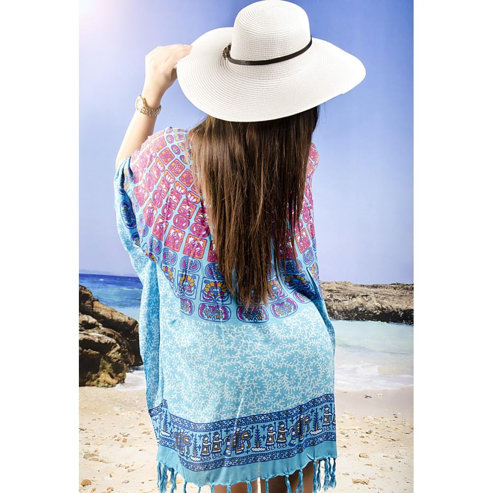 Плажна Туника в Синьо  с Цветни Елементи