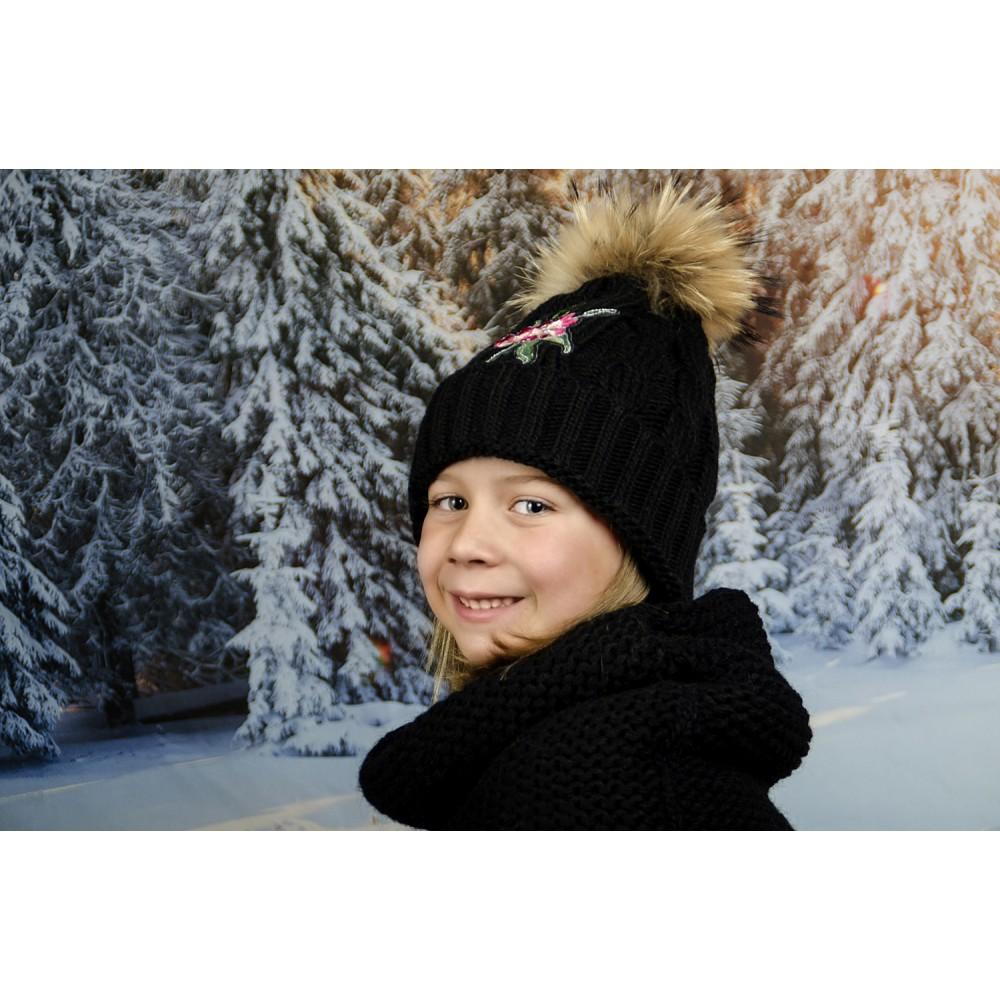 Детска Зимна Шапка с Цвете за Момичета в Черно