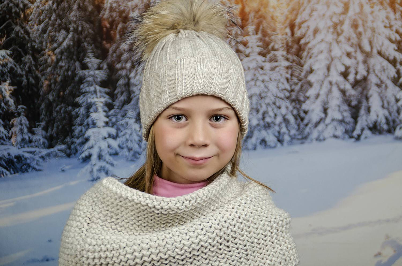 Детска Зимна Шапка за Момичета в Бежово