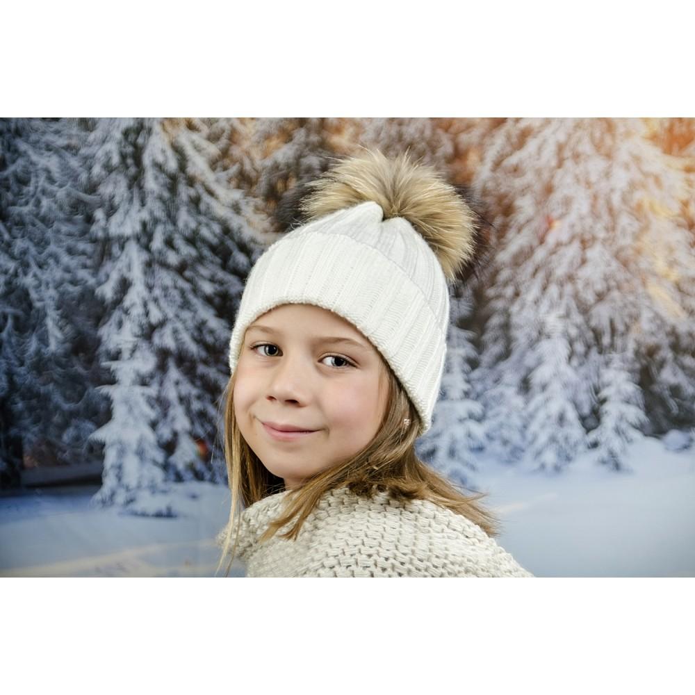 Детска Зимна Шапка за Момичета в Бяло