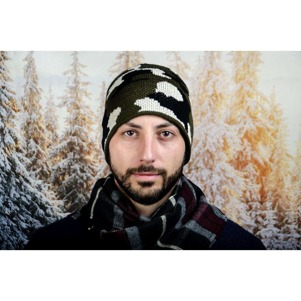 Мъжка Зимна Шапка Тъмен Камуфлаж