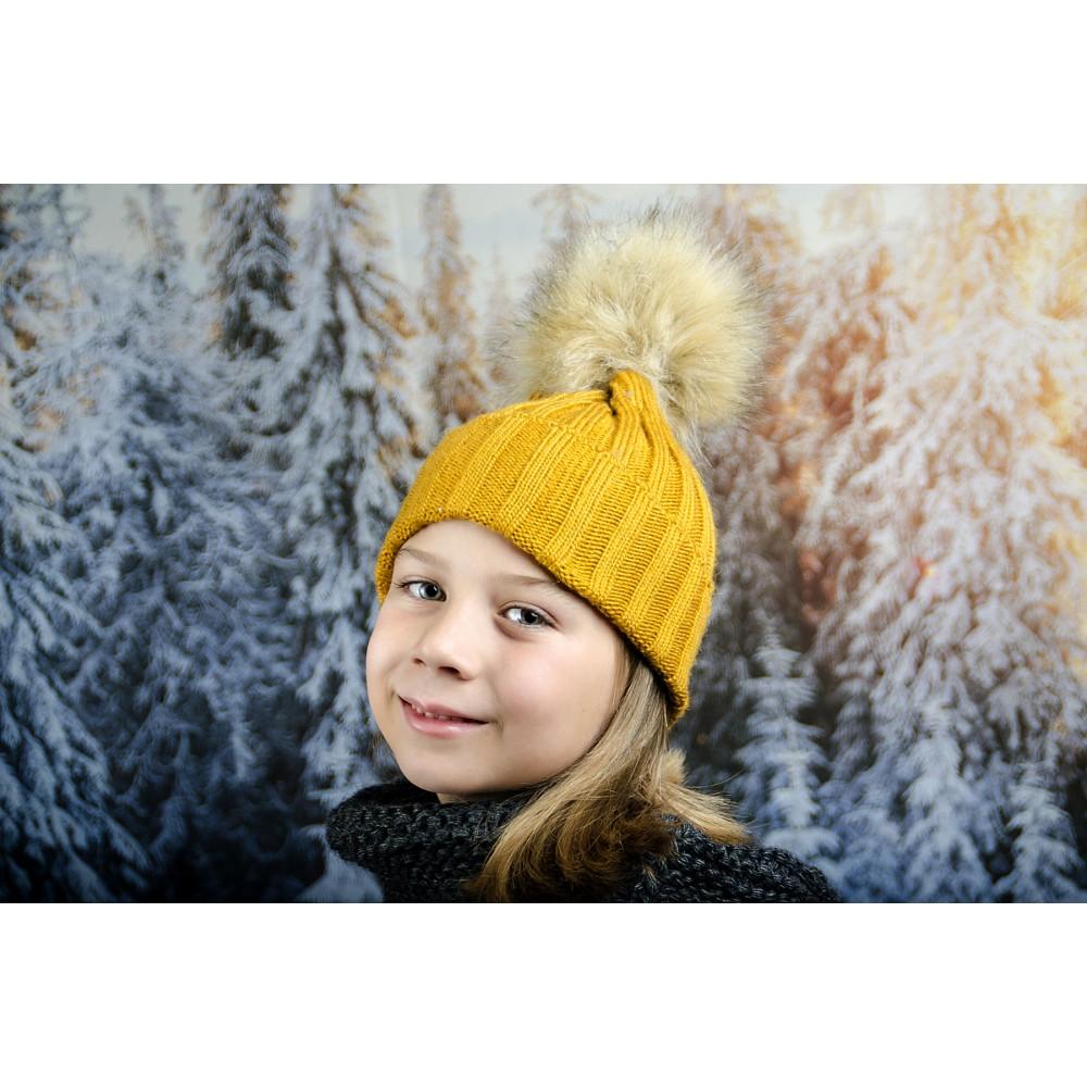 Цвят Горчица Зимна Плетена Шапка за Момичета