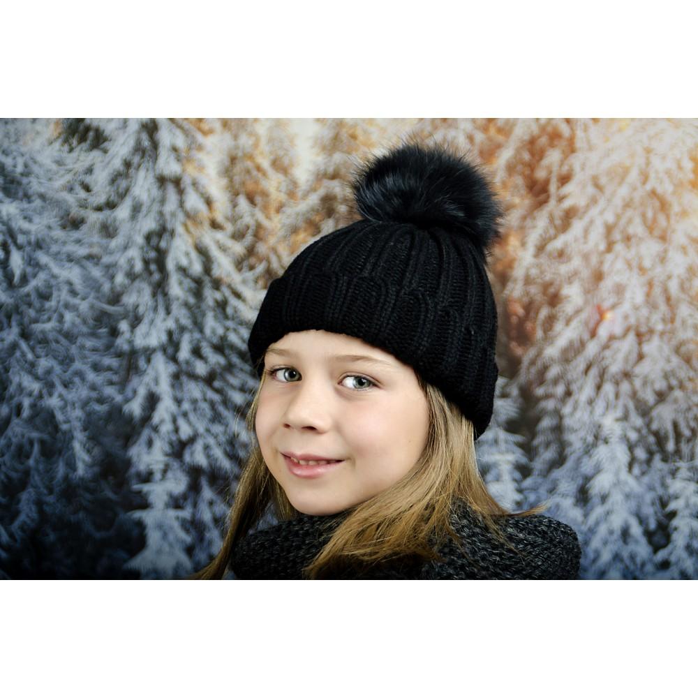 Черна Детска Зимна Шапка за Момичета