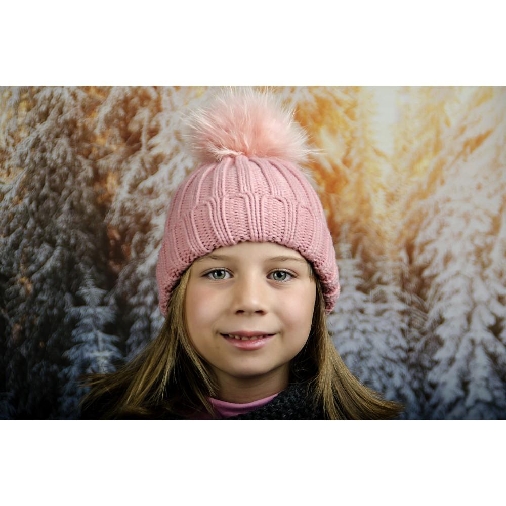 Розова Детска Зимна Шапка за Момичета