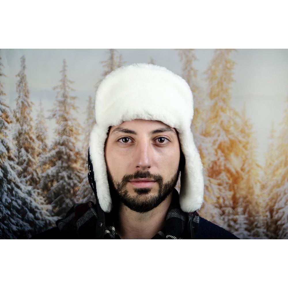 Зимна Мъжка Шапка от Естествена Кожа Бяло и Черно