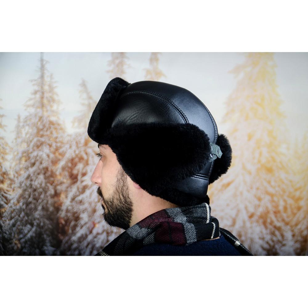 Зимна Мъжка Шапка от Естествена Кожа Черна