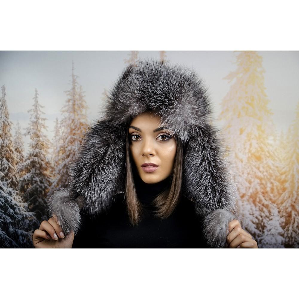 Зимна Дамска Ушанка Косъм Лисица