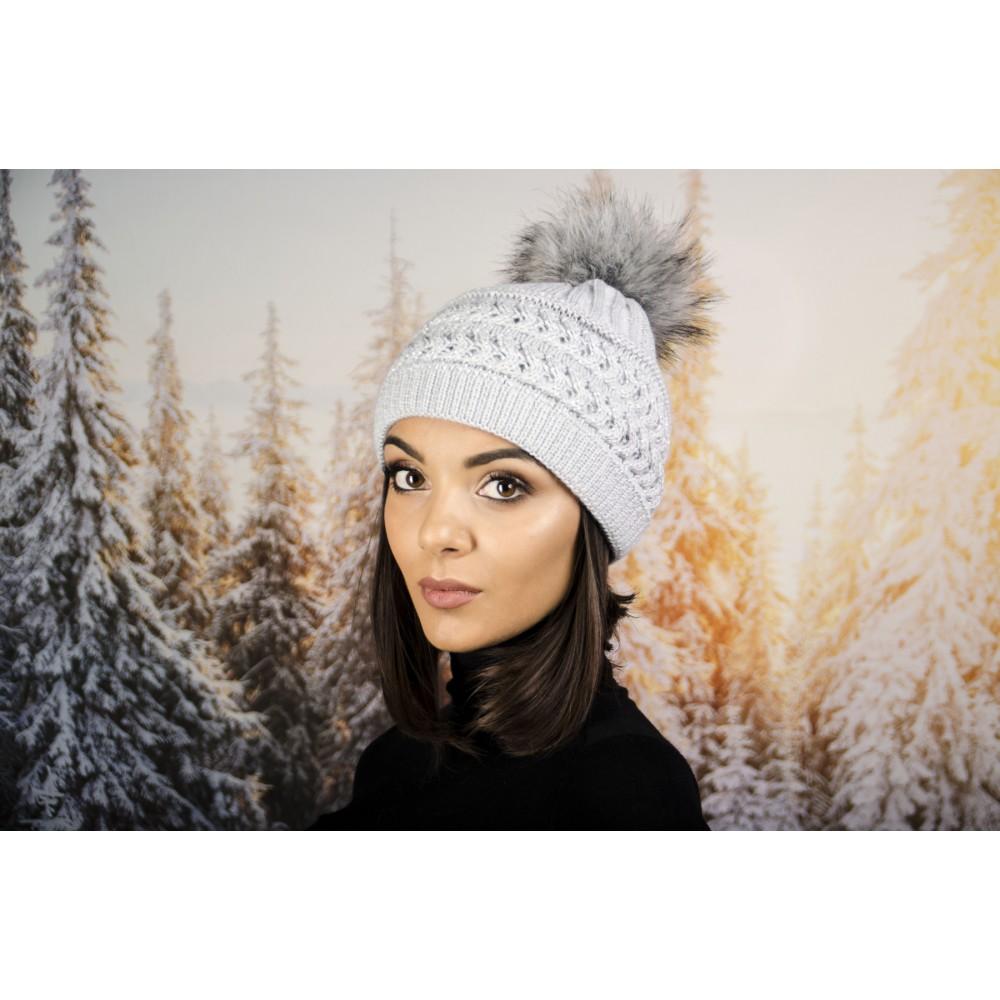 Дамска Зимна Шапка с Еко Пух Сива