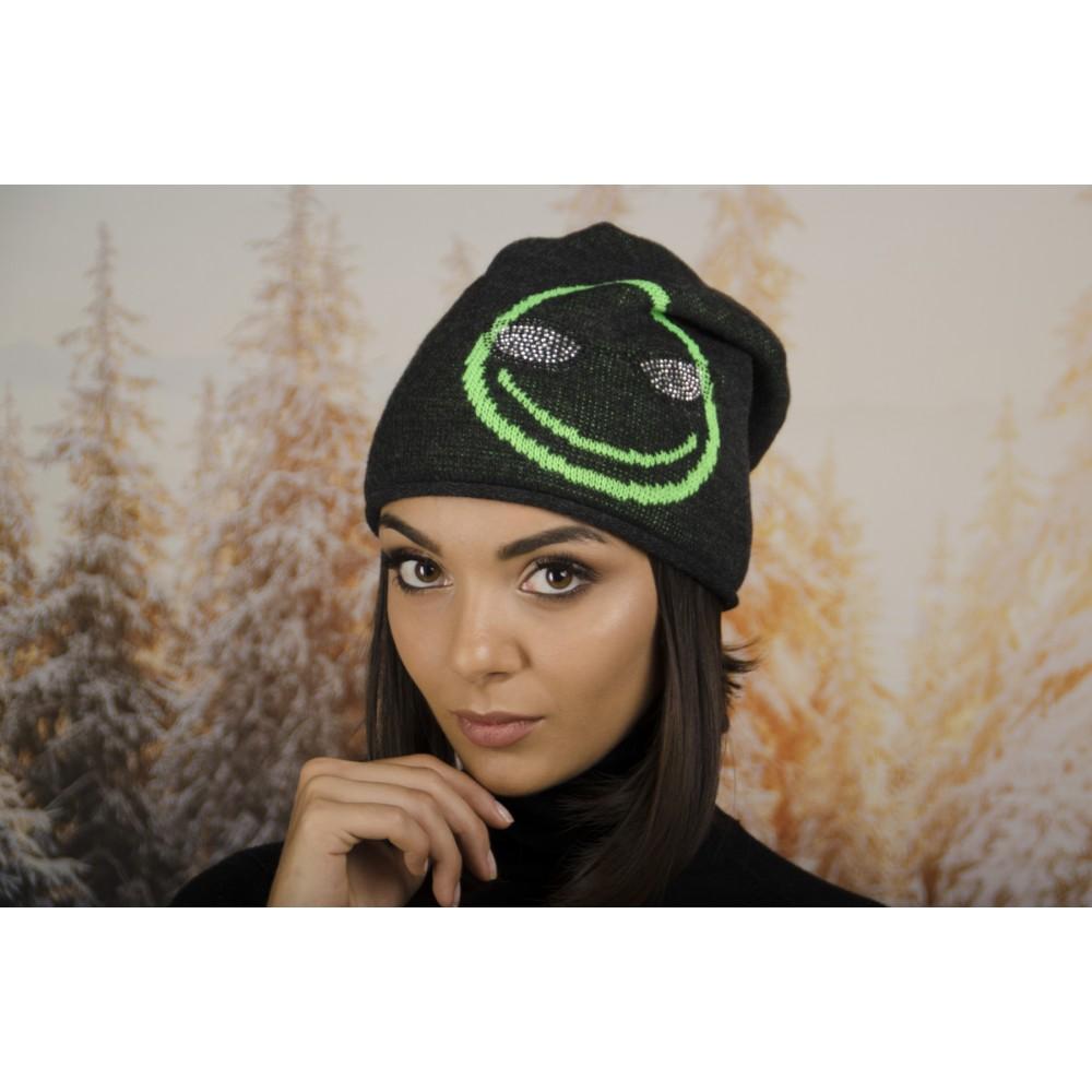 Дамска Зимна Шапка с Емотикон в Тъмно сиво и Зелено