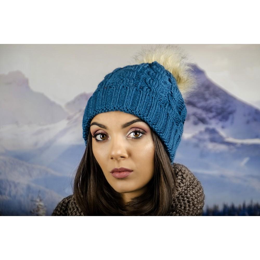 Дамска Зимна Шапка Синя
