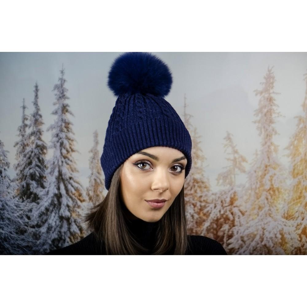 Зимна Дамска Шапка Ангора с Пух в Тъмно Синьо