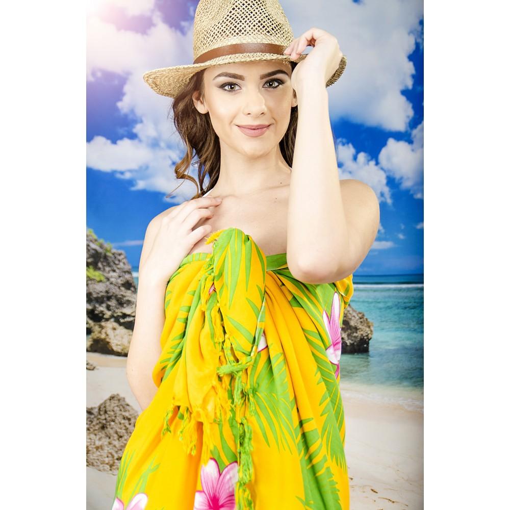 Плажно Парео в Жълто и Зелено