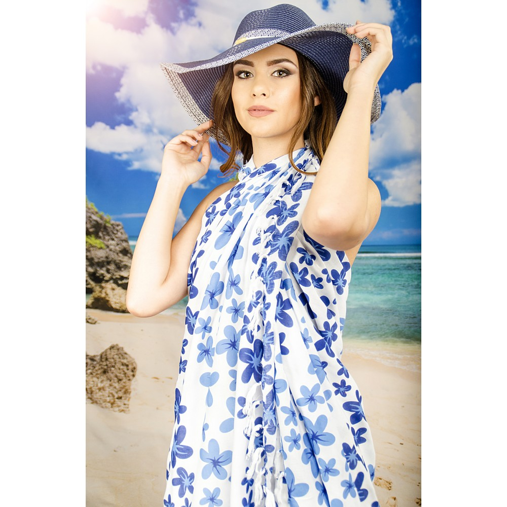 Плажен Шал в Бяло на Сини Цветчета