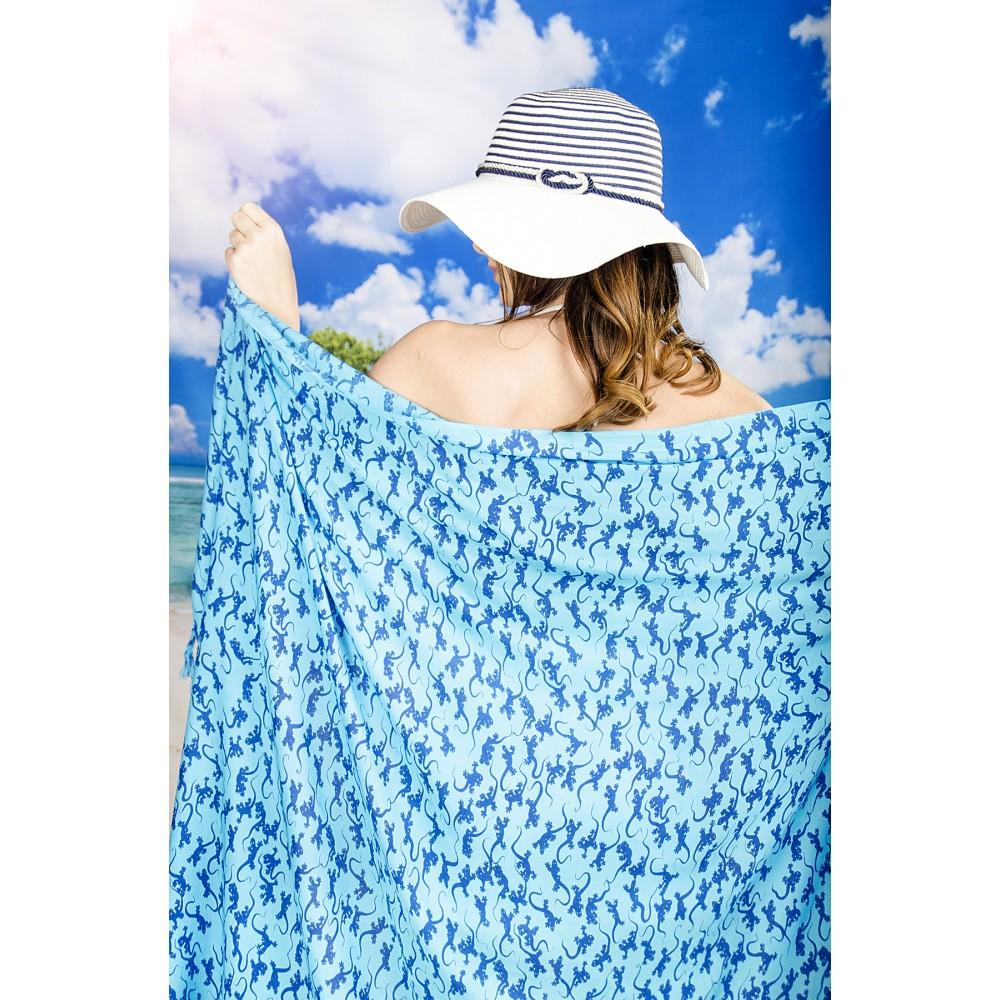 Плажен Шал в Синьо с Гущерчета