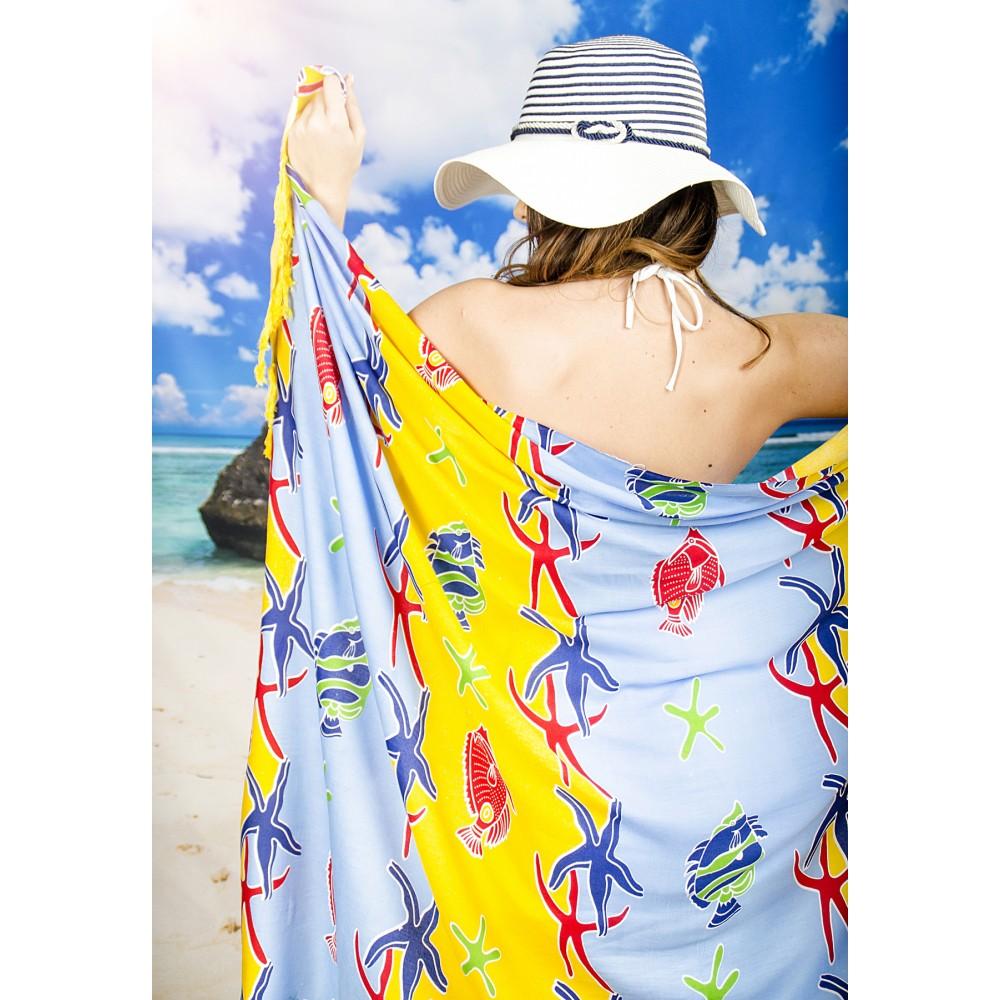 Плажен Шал в Жълто и Светло Синьо с Морски Мотиви