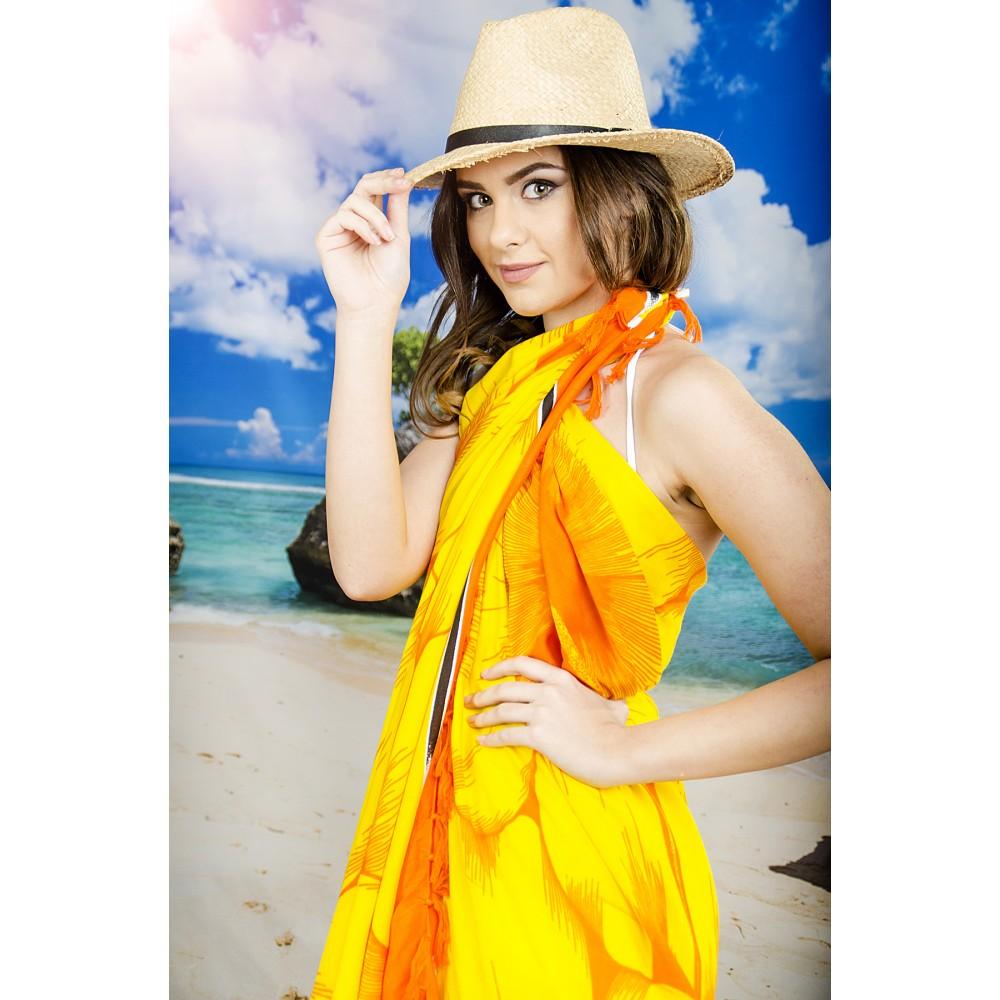 Плажен Шал в Жълто и Оранжево