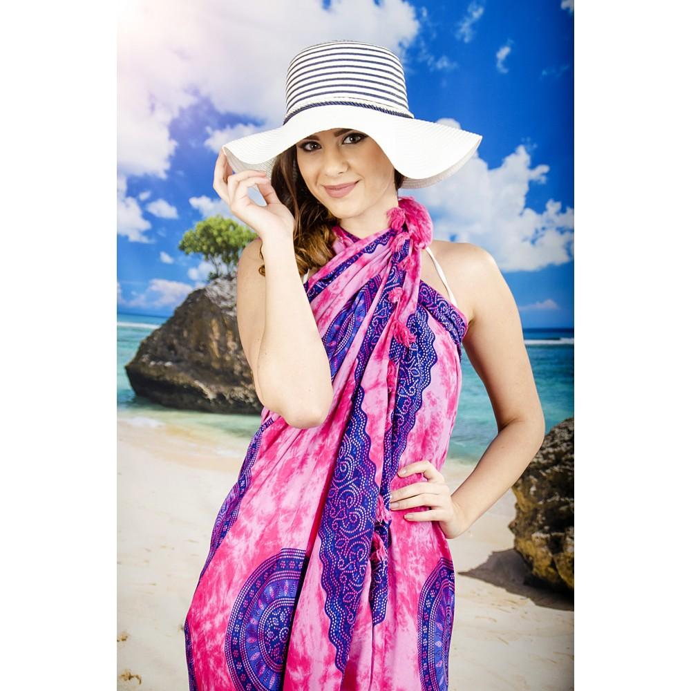 Плажен Шал с Розови Пръски