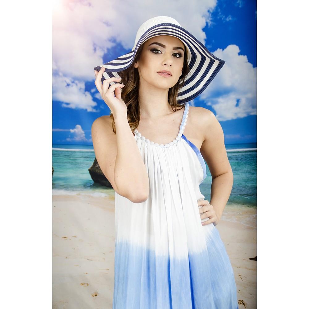 Плажна Рокля в Бяло и Синьо