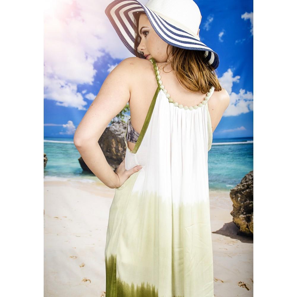 Плажна Рокля в Бяло и Маслено Зелено