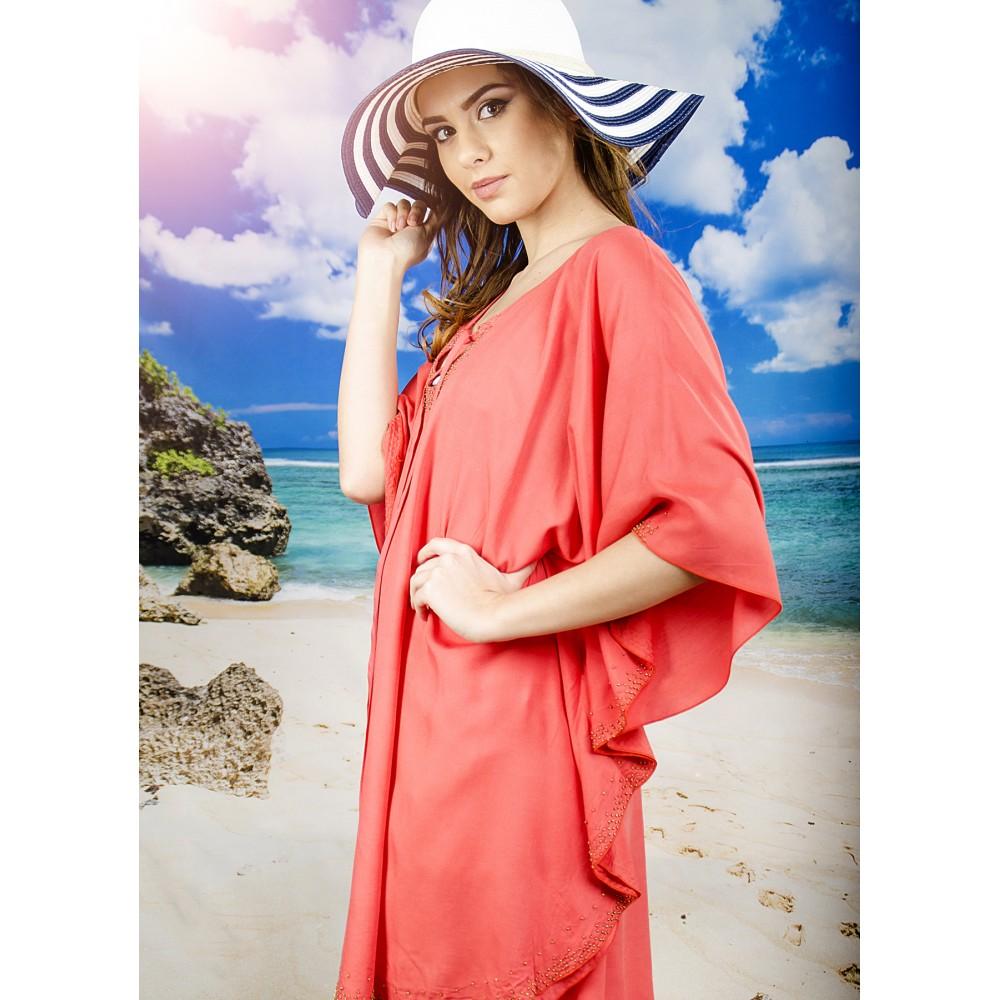 Плажна Туника в Цвят Корал с Топченца и Връзки