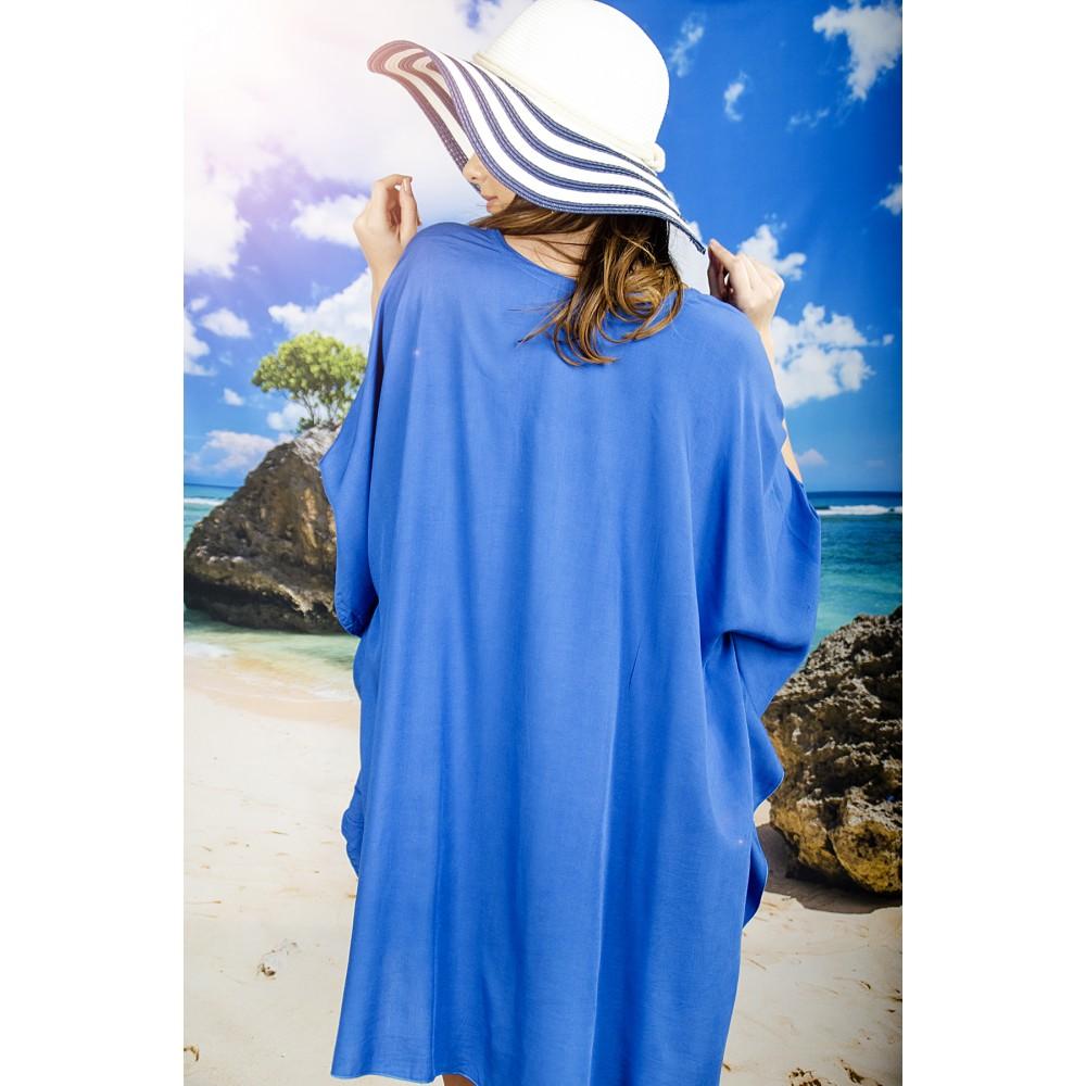 Плажна Туника в Синьо с Топченца и Връзки