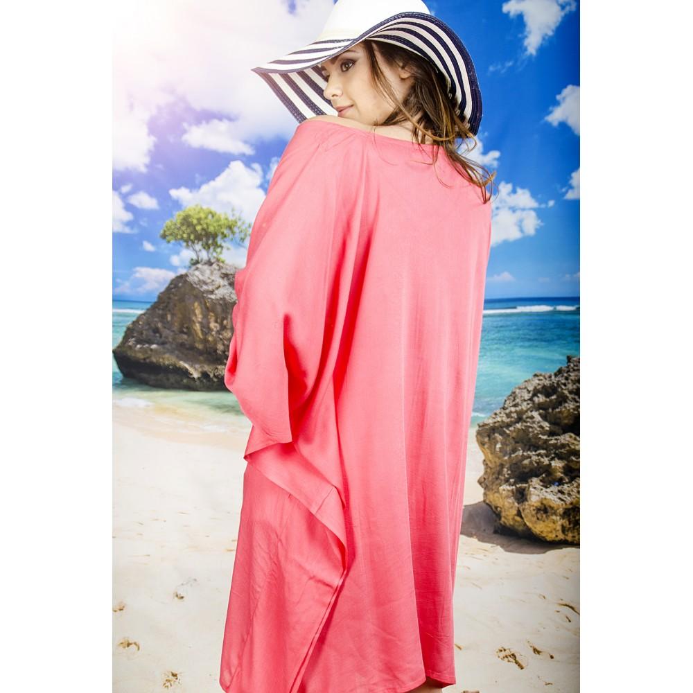 Плажна Туника в Цвят Корал с Пискюли