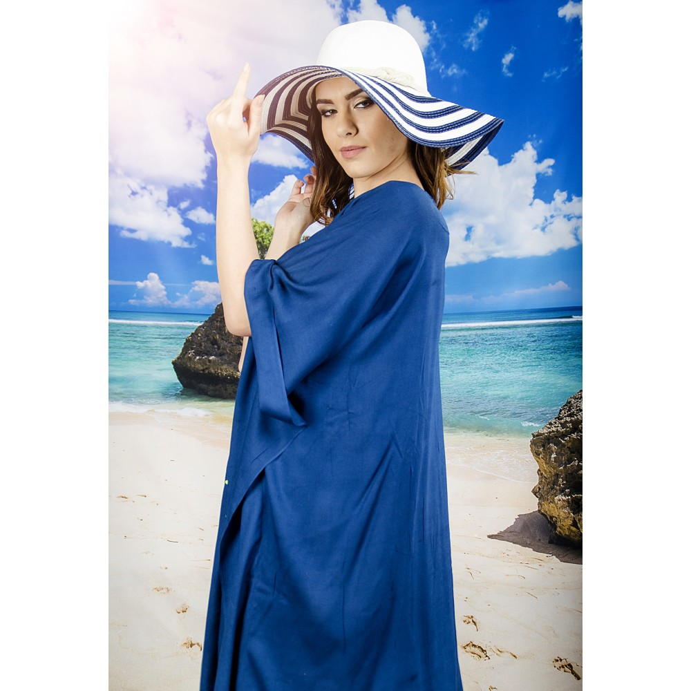Плажна Туника в Тъмно Синьо с Пискюли