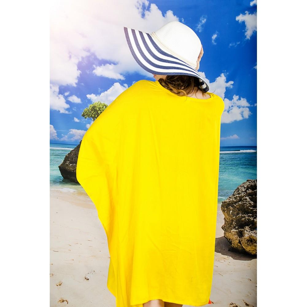 Плажна Туника в Жълто с Пискюли