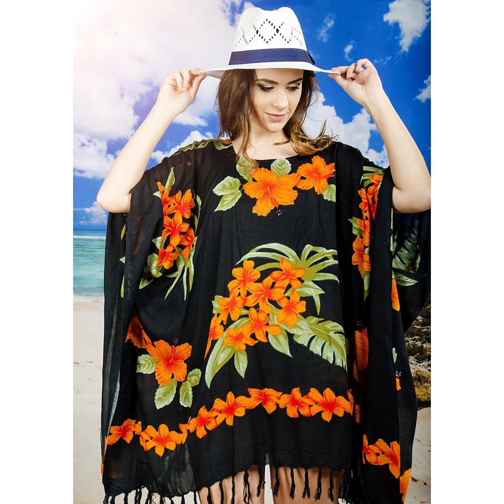 Плажна Туника в Черно и Оранжево на Цветя
