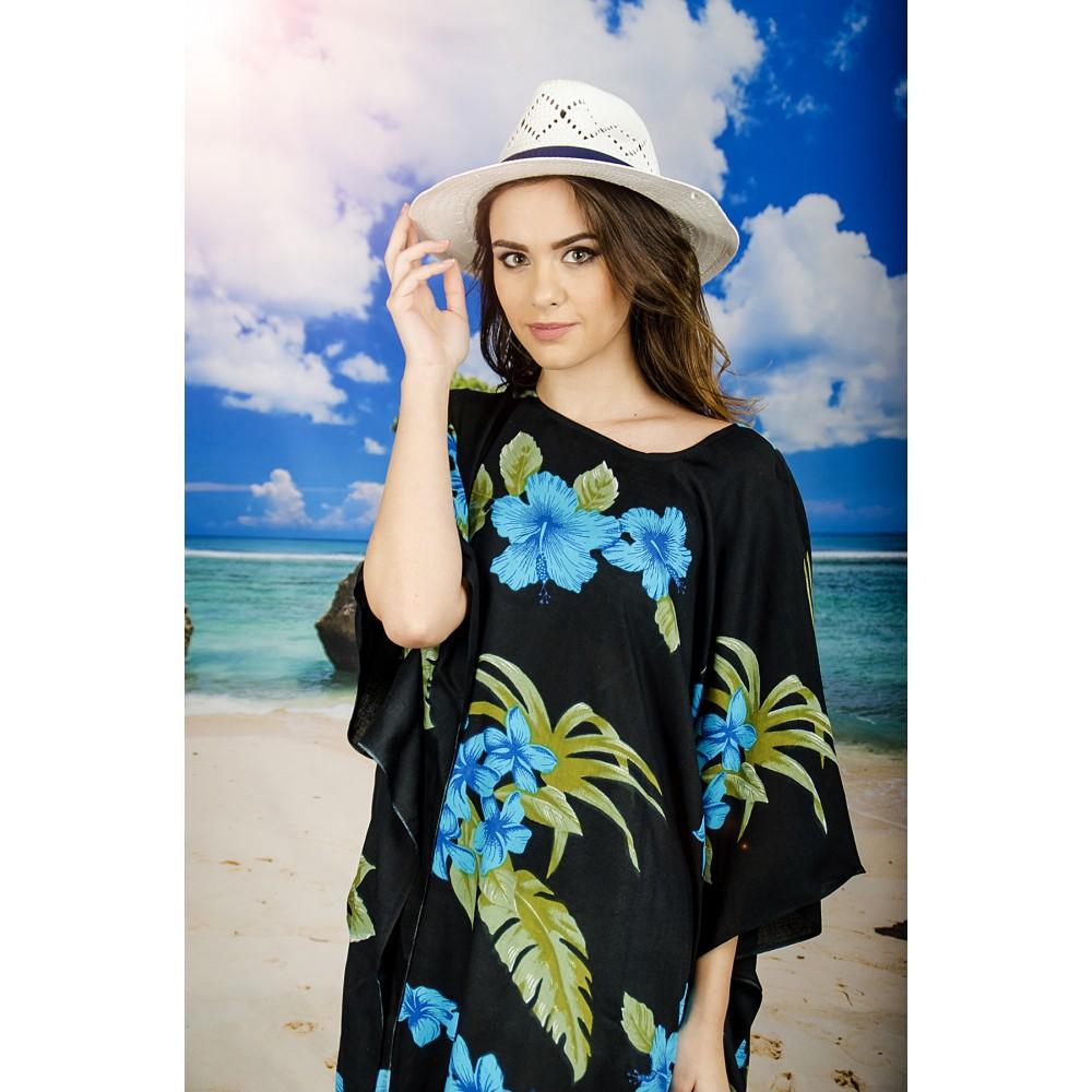 Плажна Туника в Черно и Синьо на Цветя