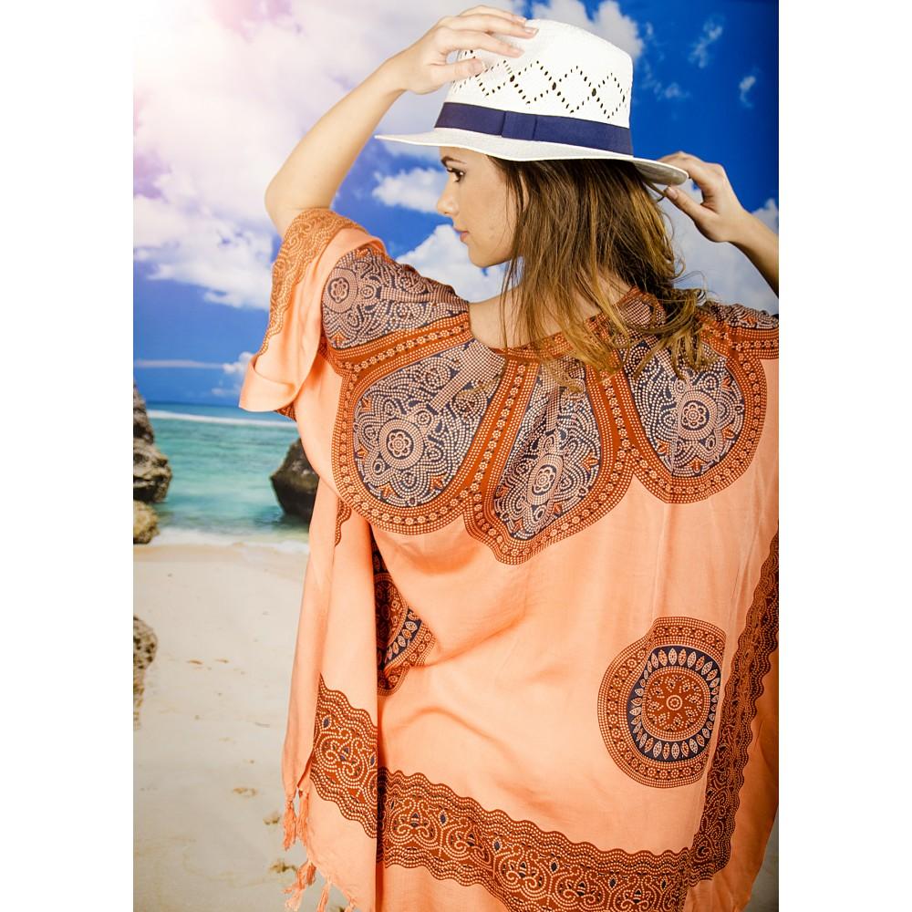 Плажна Туника в Оранжево с Орнаменти