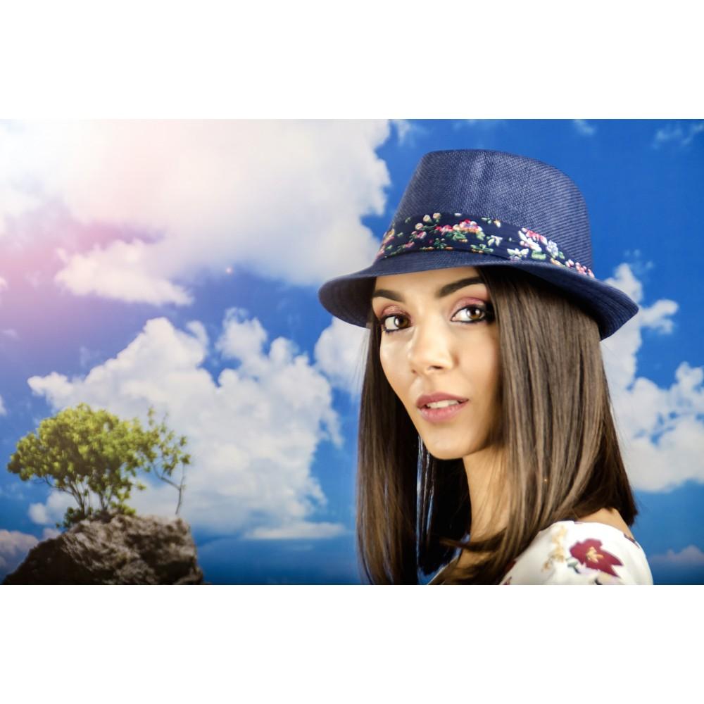Дамско Бомбе в Синьо с Лента на Цветя