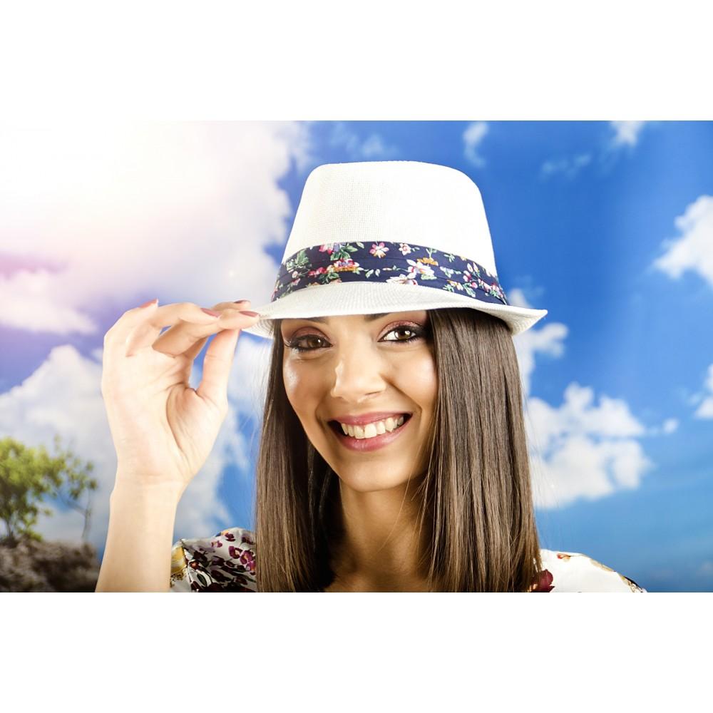 Дамско Бомбе в Бяло с Лента на Цветя