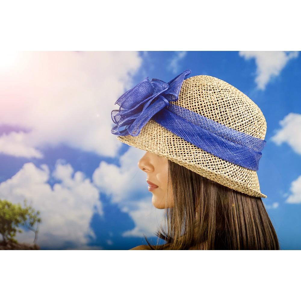 Бутикова Дамска Капела с Панделка Цвят Син