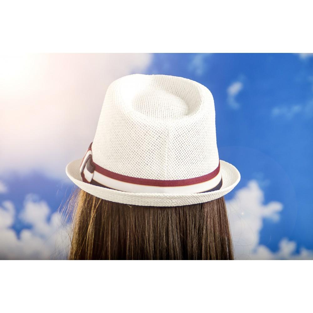 Дамско Бомбе в Бяло с Многоцветна Лента