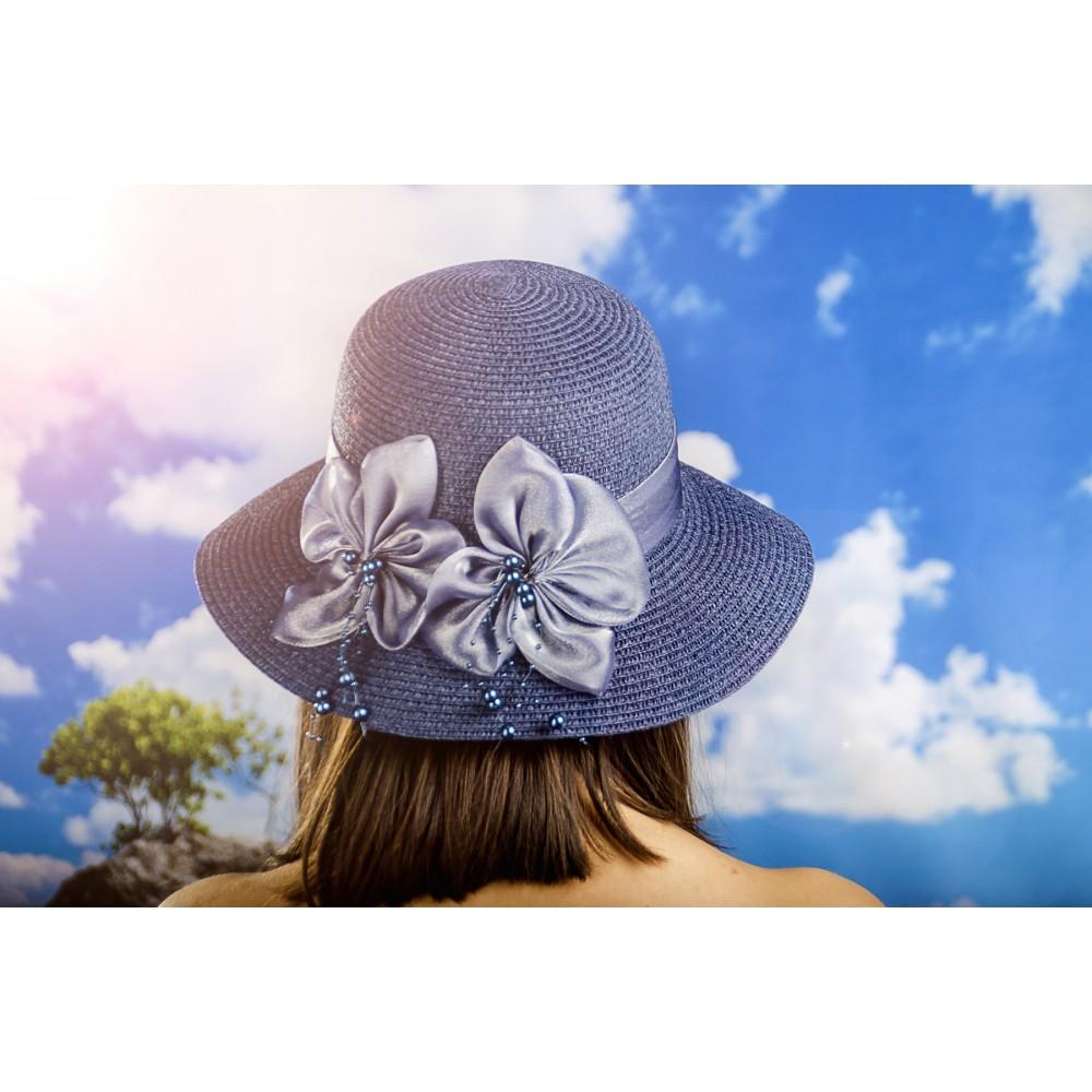 Дамска Лятна Капела с Две Цветчета в Синьо