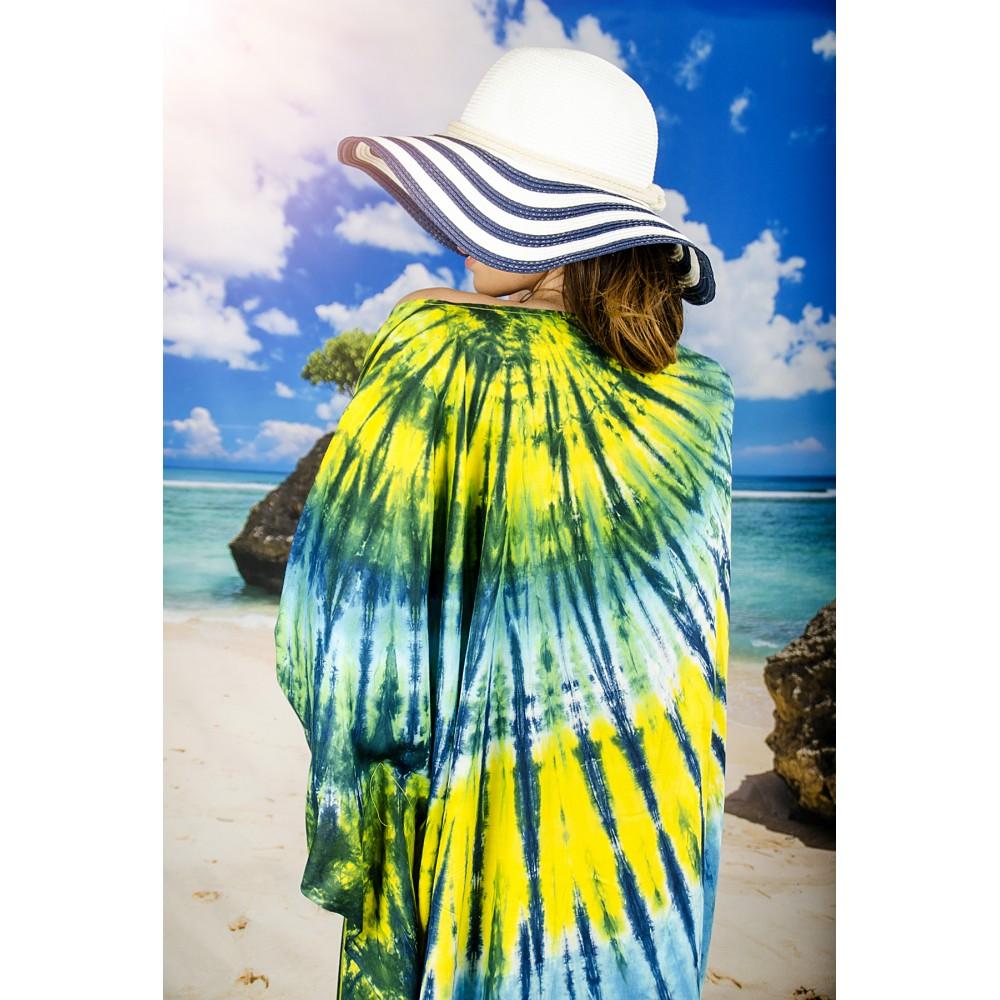 Плажна Туника в Жълто, Синьо и Зелено
