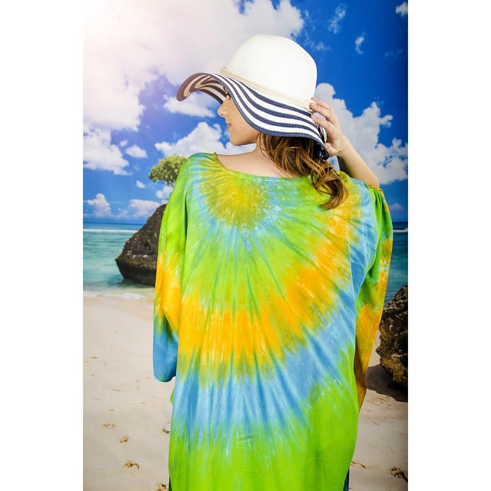 Плажна Туника в Зелено, Оранжево и Синьо
