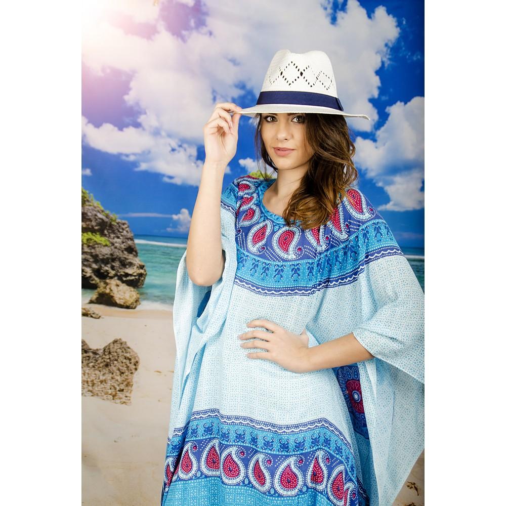 Плажна Туника с Орнаменти в Сини Нюанси