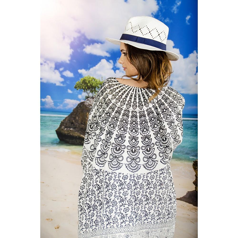 Плажна Туника с Орнаменти в Бяло и Черно