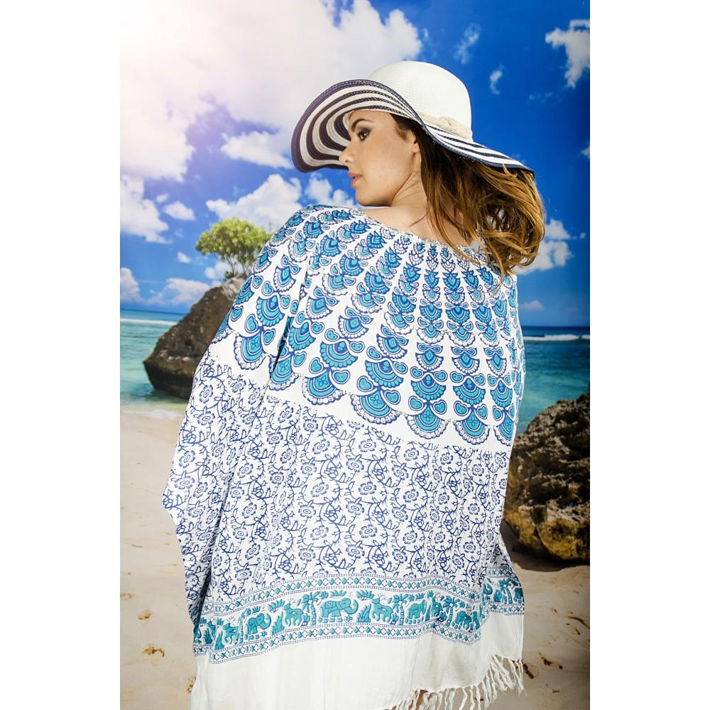 Плажна Туника с Орнаменти в Синьо-Зелено