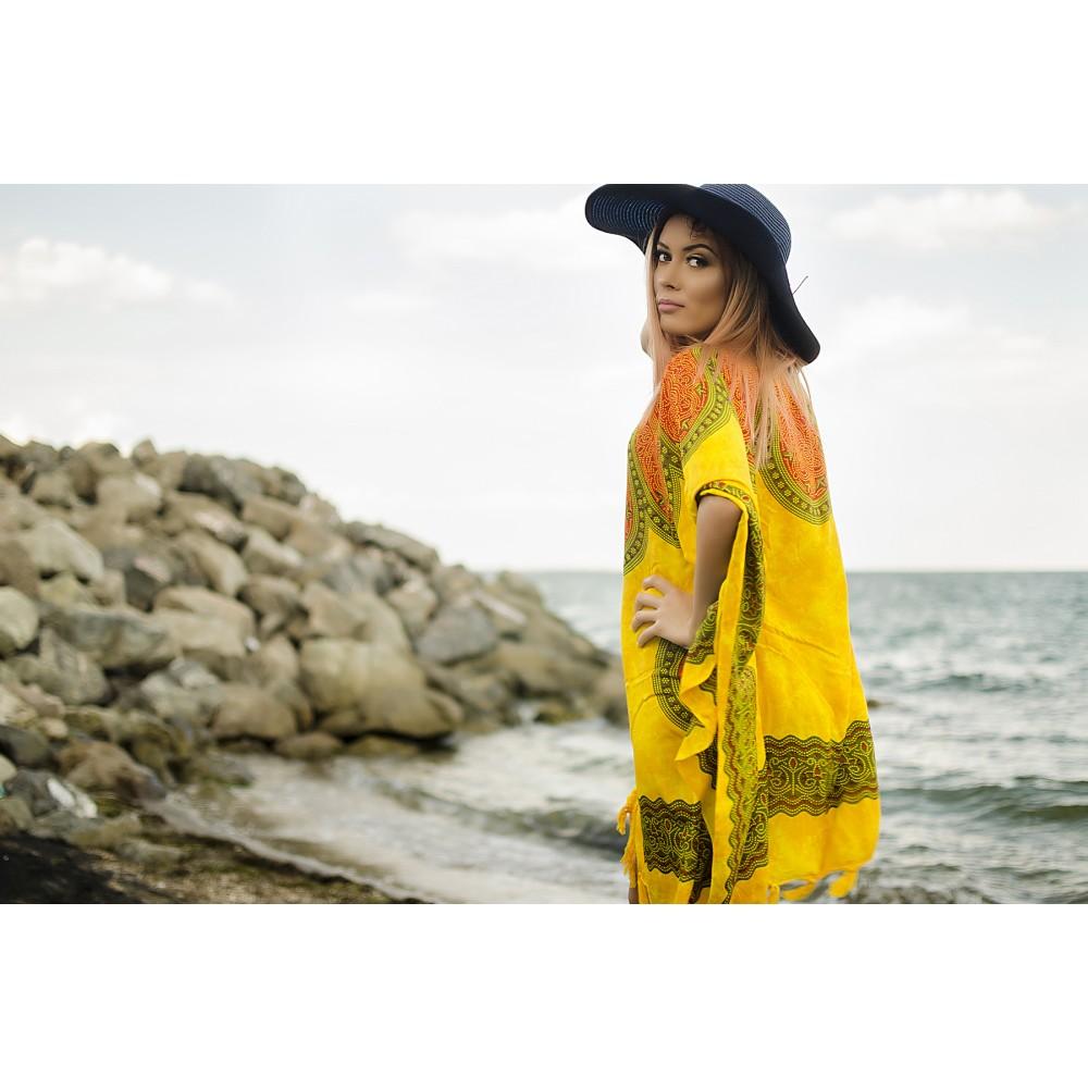 Плажна Туника в Жълто с Оранжеви Орнаменти